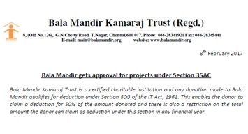 Projects U/S 35AC for 100% tax deduction